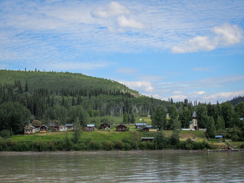 First Nation summer camp on Yukon outside Dawson City