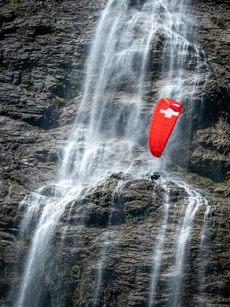 Paraglider in the Lauterbrunnen Valley