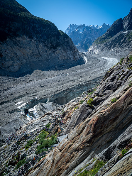 Mer de Glace Glacier. Looks a bit like dirt but it's ice.