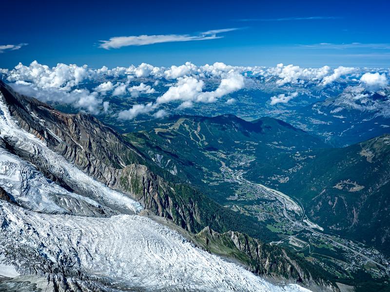 View of Chamonix down below