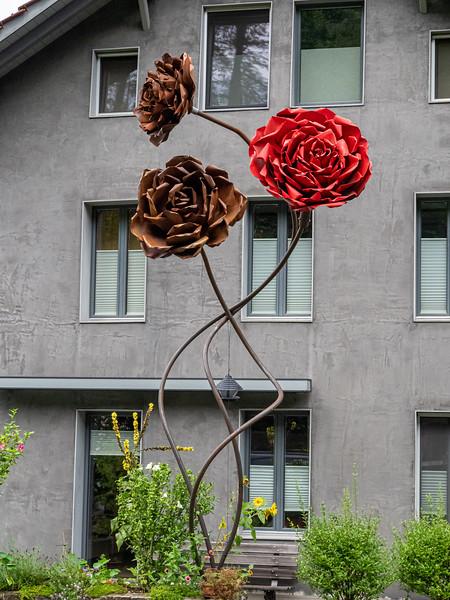 20 feet high artificial flowers in Interlaken