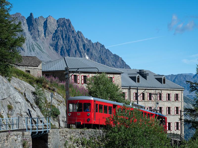 Train heading to Mer de Glace glacier