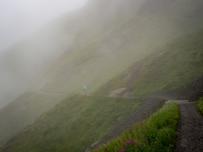 Hiking trail to Kleine Scheidegg on a very foggy morning
