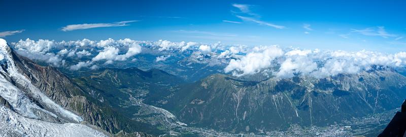 Panorama looking down towards Chamonix