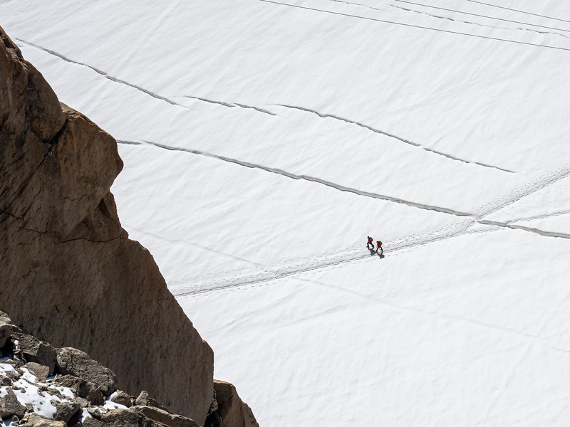 Looking down on climbers on Mount Blanc