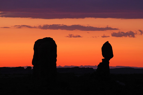 Balanced Rock at sunset, Arches Nat. Park