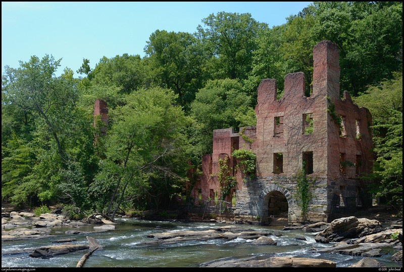 """25May11  rough day. the remains of new manchester mfg, rendered thus by an excursion force of the union army during sherman's march to the sea.  the archway is the water return port back to sweetwater creek after driving the water wheel that powered the mill.  <a href=""""http://carpelumen.smugmug.com/Photography/2010/May10/12027935_3zwrz/1/879344688_KTswY/Medium"""">one year ago.</a>  f/11, 1/320s, iso 640."""