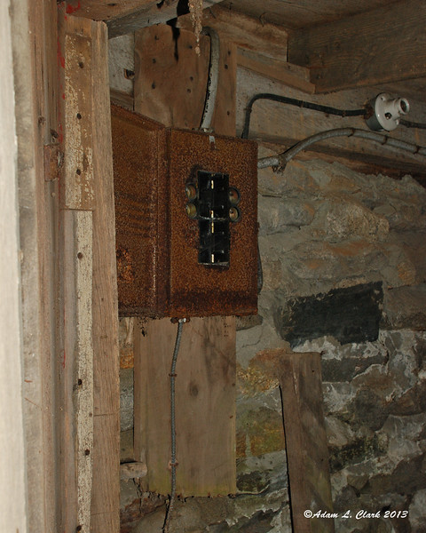 The old style fuse box for the first building we explored.  Not much room for expansion