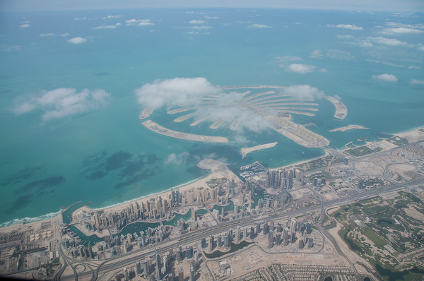 March 3rd - Jumeirah Beach Residences in the foreground and Palm Jumeirah behind.
