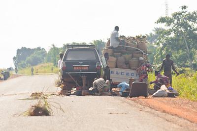 09AZb2107 Abomey to Ketou Africa Benin Streets Transport Trucks