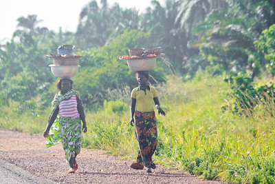09AZb2105 Abomey to Ketou Africa Benin Candids Farmers Farming Full Body Occupations Pairs Portraits Streetlife Streets Work Younger Women