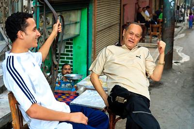 09AZa11983 Africa Egypt Green Old Men Street Men Zagazig