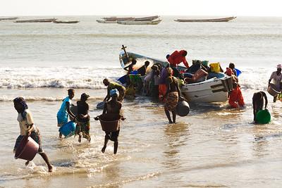 09AZb1012 Africa Boat FisherGambia Gunjur PortTransport Work
