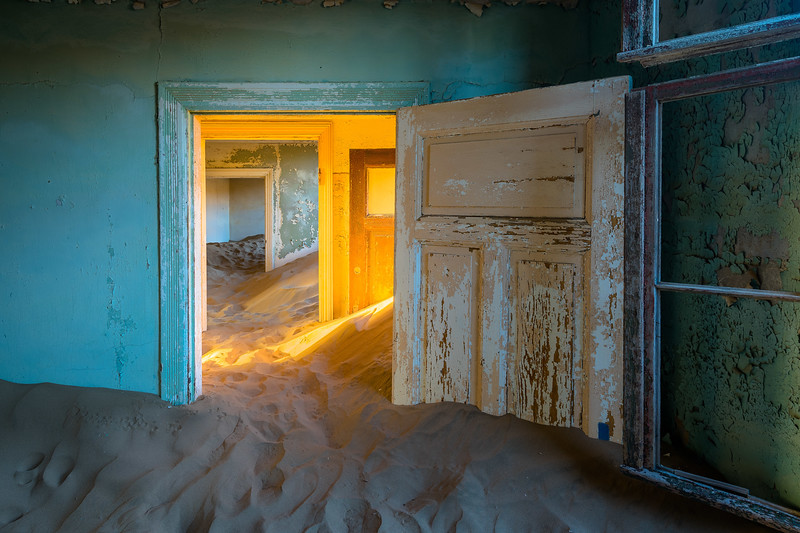 "Kolmanskop, a ghost town in southern Africa's Namib Desert, in the middle of a region known as ""the forbidden zone."""