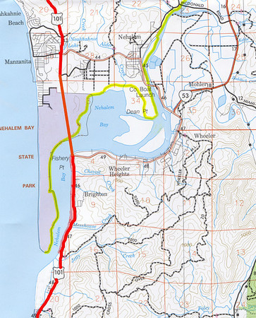 For many years, plans for Highway 101 specified a route south of Manzanita into the park and crossing Nehalem Bay to Fisher Point.