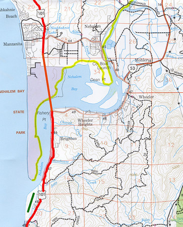 When owners of the farm land refused to sell for an air strip, interest shifted south to Nedonna Beach -- shown here by the green line near the bottom if the image.