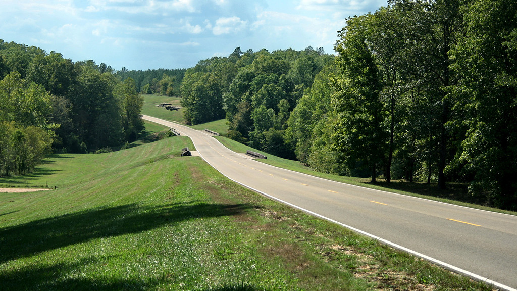 A senic section of the Natchez Trace near the Alabama state line