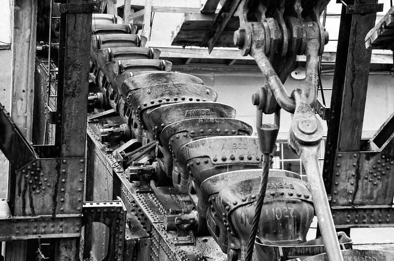 Detail of a gold dredge (mining device) near Haines, Alaska.