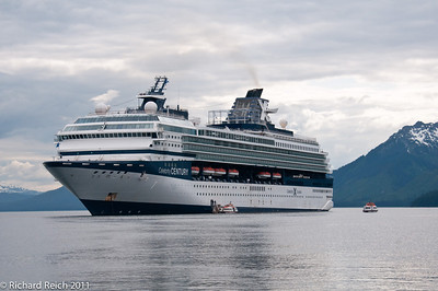 The Celebrity Century anchored offshore as passengers are tendered to Icy Straight Point