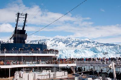 Hubbard Glacier at the head of Yukatat Bay, Alaska. Passangers on the Celebrity Century viewing the glacier.