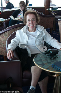 Carolyn in the Hemisphere Lounge on the Sports deck level 12 which was in the forward section of the ship.