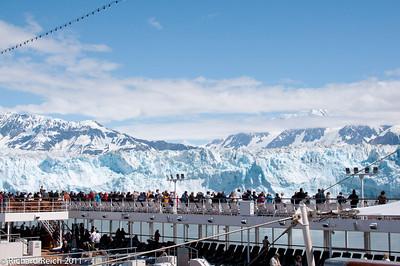 Hubbard Glacier at the head of Yukatat Bay, Alaska. Passengers on the Celebrity Century viewing the glacier.