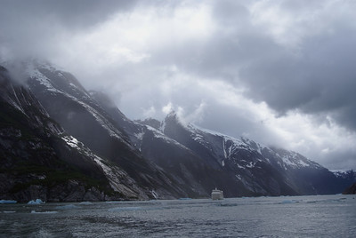 That is our boat in a fiord.  The boat is about 120 feet long and 30 feet to the top of the mast.