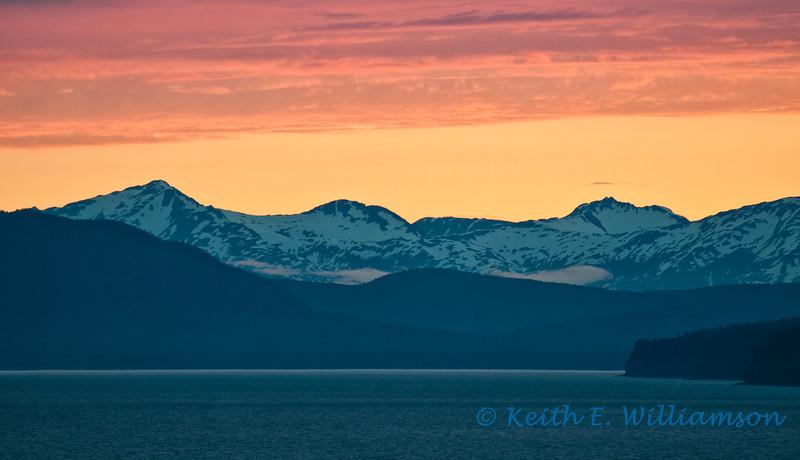 Sunset, leaving Juneau