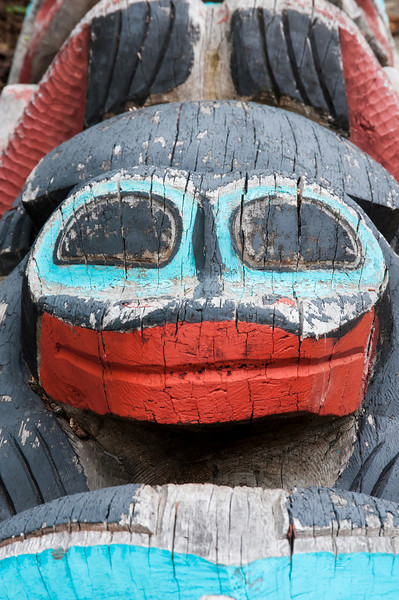 Detail of a totem pole in Haines, Alaska