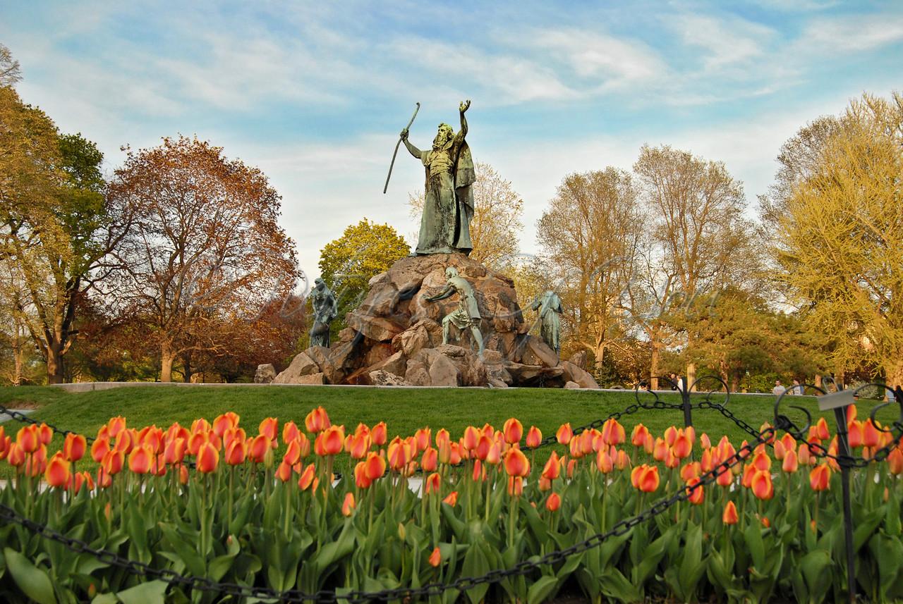Albany's Tulip Festival in Washington Park.  Moses Statue.