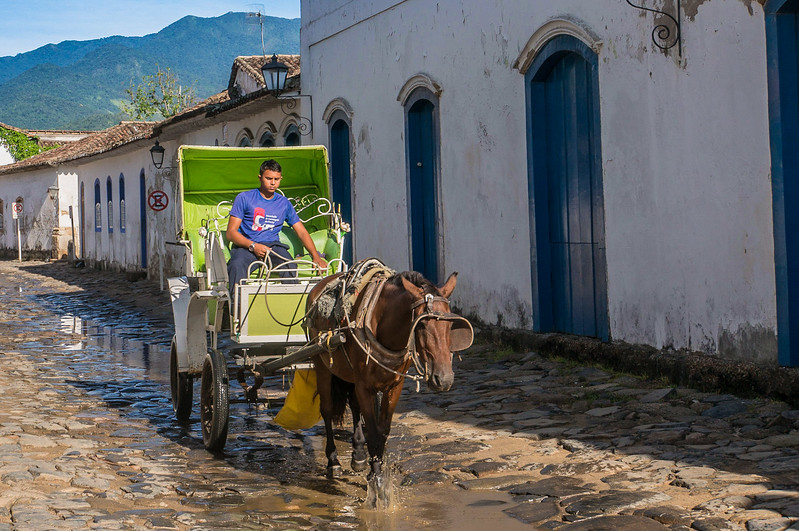 Horse and cart in historical town of Paraty, Brazil
