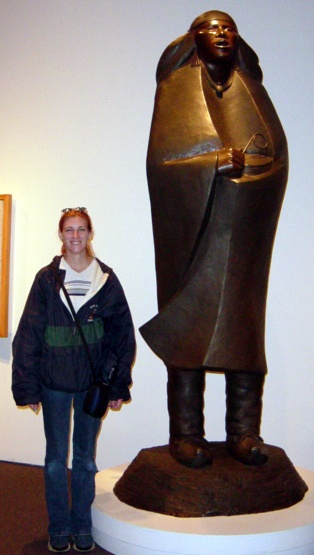 Michelle and sculpture.