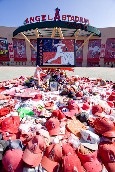 The fans memorial to Nick Adendart, #34. I had the opportunity to photograph Angel Stadium with out a lot of fans around-- usually on game day there are always lots of people taking pictures next to this memorial to Nick.