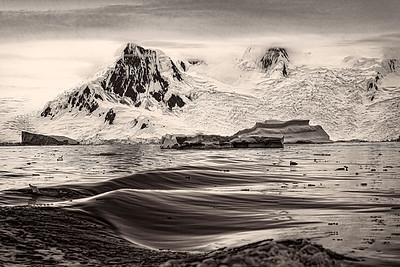 Antarctic Glacier B&W Copyright 2020 Steve Leimberg UnSeenImages Com