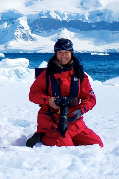 The photographer (Wang Hong) on Antarctica Peninsular (2011), by Dr. Marcus Schuetz.