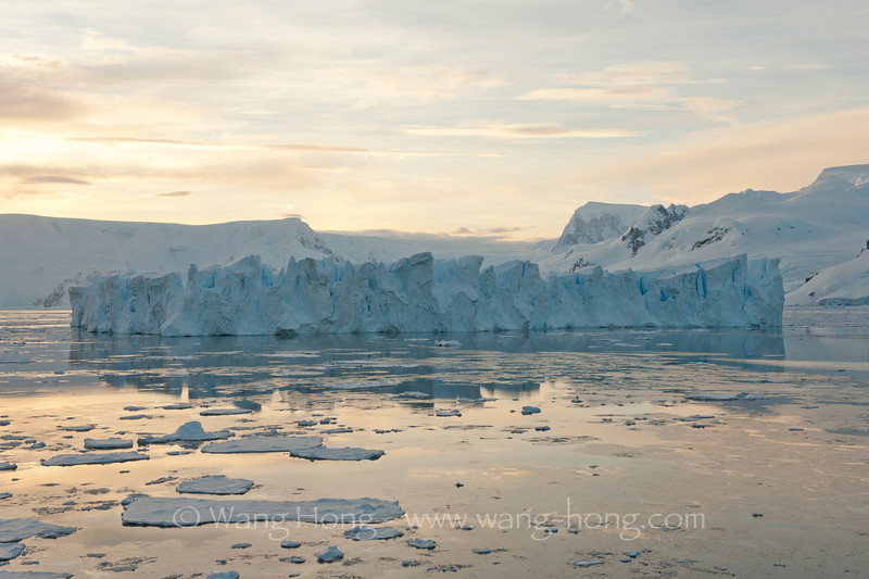Wilhelmina Bay at sunrise, Antarctica Peninsula