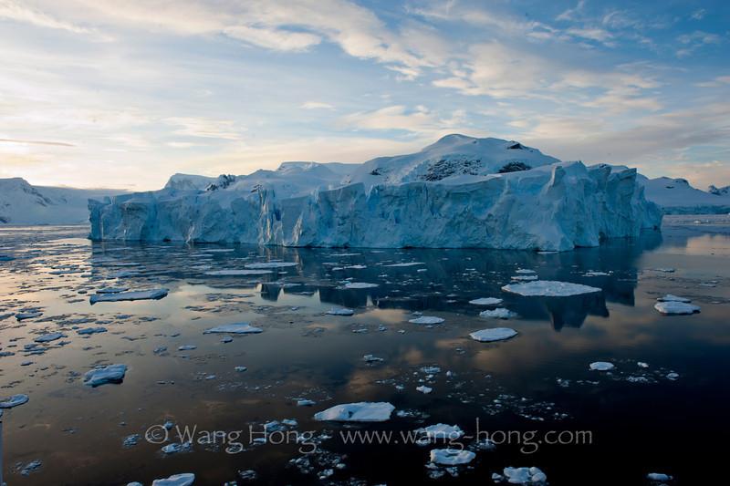 Wilhelmina Bay early morning, Antarctica Peninsula.