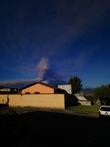 View of Volcán de Fuego slightly errupting from Chiqui's office.