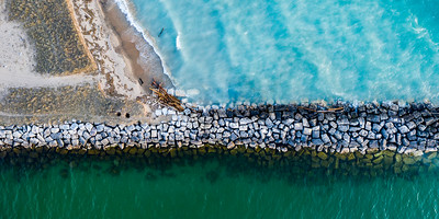 Arcadia Beach Breakwall Aerial Panorama