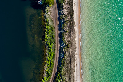 Lake Michigan and Arcadia Lake Aerial
