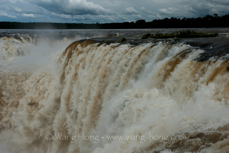 Devil's throat section of Iguazu Falls,  where the biggest volume of water passes and creates the most memorable spectacle.