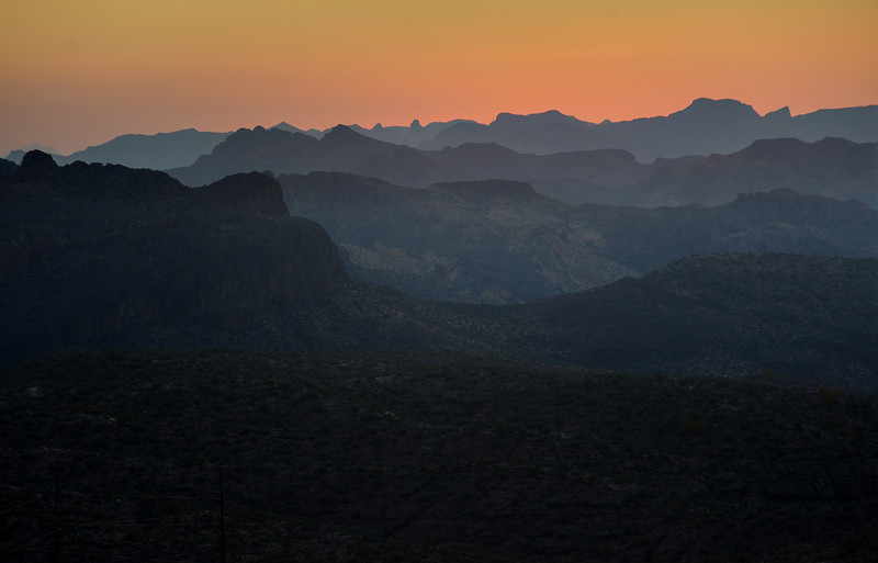 Dusk in Superstition Mountains, Arizona