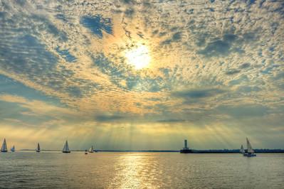 Sailing on Lake Erie near the outer harbor, Buffalo, NY.