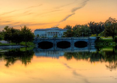 Sunset over the Buffalo Historical Society.