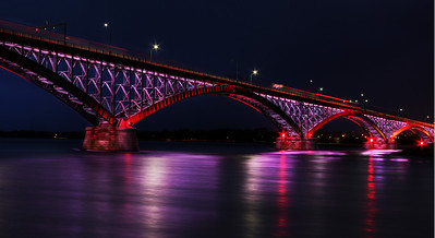 Peace Bridge at night.