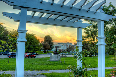 Looking at the Albright Knox Gallery from the rose garden.