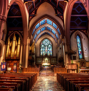 St. Paul's Cathedral in Buffalo, NY. Constructed of red sandstone between 1849 and 1851. This gothic style cathedral was designed by Richard Upjohn.