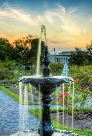 Fountain in the Delaware Park rose garden.