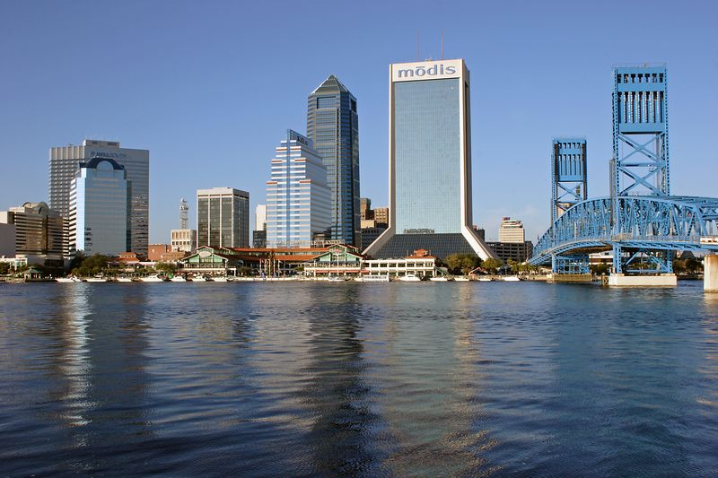 Jacksonville, Fl as seen from the South Bank of the St. John's River.  Copyright 2005 by Tony Klimas
