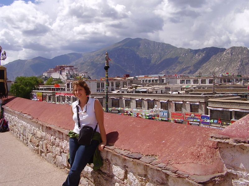 Kary on top of the Johkan in Tibet